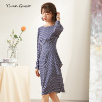 Dress Spring 2021 Blue background with grey dots S M L XL 2XL 3XL Mid length dress singleton  Long sleeves commute Crew neck middle-waisted Dot Socket A-line skirt routine Others 35-39 years old Type X Yi Ran is me Ol style Stitching zipper More than 95% Chiffon polyester fiber Polyester 100%