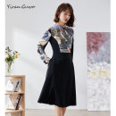 Dress Spring 2021 Alternative black S M L XL 2XL 3XL Mid length dress Fake two pieces Long sleeves commute Polo collar middle-waisted Decor Single breasted Big swing routine Others 35-39 years old Type X Yi Ran is me Ol style Multi button zipper print 51% (inclusive) - 70% (inclusive) other