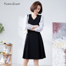 Dress Summer 2021 Black with grey S M L XL 2XL 3XL Mid length dress singleton  Nine point sleeve commute V-neck middle-waisted Solid color Socket A-line skirt routine Others 35-39 years old Type X Yi Ran is me Ol style Stitched button zipper 51% (inclusive) - 70% (inclusive) other polyester fiber