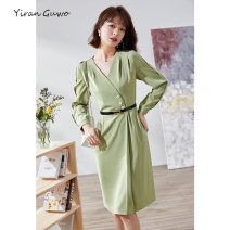 Dress Summer 2021 Alternative green S M L XL 2XL 3XL Mid length dress singleton  Long sleeves commute V-neck middle-waisted Solid color Socket A-line skirt routine Others 35-39 years old Type X Yi Ran is me Ol style Lace up button zipper 81% (inclusive) - 90% (inclusive) other polyester fiber