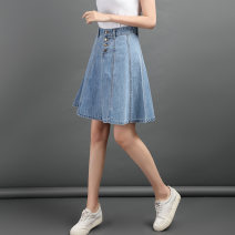 skirt Summer of 2019 XS S M L XL XXL Light blue dark blue Mid length dress Versatile High waist A-line skirt hg0568 71% (inclusive) - 80% (inclusive) Huigu cotton Cotton 76% polyethylene terephthalate (polyester) 24% Pure e-commerce (online only)