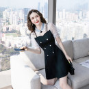 Dress Summer 2021 black S,M,L,XL,2XL Short skirt Fake two pieces Short sleeve commute Doll Collar High waist Solid color zipper A-line skirt routine Others 18-24 years old Type A Splicing, mesh