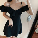 Dress Summer 2021 black S,M,L,XL,2XL Short skirt singleton  commute One word collar High waist Solid color zipper Pencil skirt Others 18-24 years old Type A Lotus leaf edge