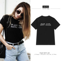 T-shirt black XS,S,M,L Summer 2021 Short sleeve Crew neck easy Regular routine street cotton 96% and above 18-24 years old youth letter T1702017 printing Europe and America
