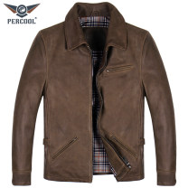 leather clothing PERCOOL Fashion City Camel 165/S 170/M 175/L 180/XL 185/2XL 190/3XL have cash less than that is registered in the accounts Leather clothes Lapel Slim fit zipper winter leisure time youth top layer leather Japanese Retro Straight hem Zipper bag Multiple pockets No iron treatment
