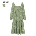 Dress Spring 2021 green S,M,L Mid length dress singleton  Long sleeves commute square neck High waist Dot Socket A-line skirt routine Type A Retro printing 71% (inclusive) - 80% (inclusive) Chiffon polyester fiber