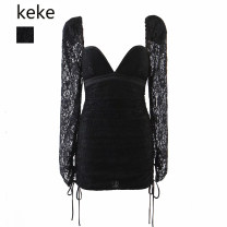 Dress Spring 2021 black S,M,L Short skirt singleton  Long sleeves street square neck High waist Solid color Socket puff sleeve 51% (inclusive) - 70% (inclusive) Lace Europe and America