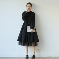Dress Spring 2021 black M L Mid length dress Fake two pieces Long sleeves Sweet square neck Loose waist Single breasted Wrap sleeves 18-24 years old Type A Sun / Su Ying V9987 More than 95% cotton Cotton 100% princess