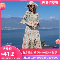 Dress Summer of 2019 Decor 19600 Decor S M L XL XXL Mid length dress singleton  three quarter sleeve commute V-neck Elastic waist Decor Socket A-line skirt Lotus leaf sleeve Others 30-34 years old Type A RANRAN ethnic style Lace print with ruffle button 19058 Decor More than 95% silk