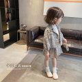 suit Other / other lattice 80cm,90cm,100cm,110cm,120cm,130cm female spring and autumn Korean version Long sleeve + skirt 2 pieces routine There are models in the real shooting Single breasted nothing lattice cotton children Expression of love Class B Cotton 90% other 10% Chinese Mainland