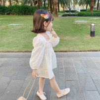 Dress white female Other / other 80cm,90cm,100cm,110cm,120cm,130cm Cotton 90% other 10% spring and autumn lady Long sleeves Solid color Cotton and hemp other Class B 12 months, 18 months, 2 years old, 3 years old, 4 years old, 5 years old, 6 years old, 7 years old Chinese Mainland
