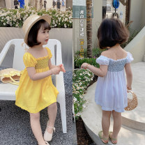 Dress Yellow, white female Other / other 80cm,90cm,100cm,110cm,120cm,130cm Cotton 90% other 10% summer Korean version Short sleeve Solid color cotton Straight skirt Class B 18 months, 2 years old, 3 years old, 4 years old, 5 years old, 6 years old Chinese Mainland Zhejiang Province Huzhou City