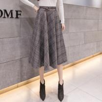 skirt Autumn 2020 S,M,L,XL Gray, Khaki Mid length dress commute High waist Umbrella skirt lattice Type A 25-29 years old Wool nylon Korean version