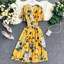 Dress Summer 2020 White, black, yellow, green, blue, red, pink, yellow on white, red on blue Average size Middle-skirt singleton  Short sleeve commute V-neck High waist Decor Socket Others 18-24 years old Type A Korean version 51% (inclusive) - 70% (inclusive) other