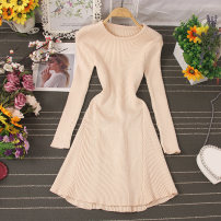 Dress Autumn 2020 Black, apricot, coffee, brown Average size Mid length dress singleton  Long sleeves commute Crew neck High waist Solid color Socket A-line skirt routine Type H Korean version Splicing 81% (inclusive) - 90% (inclusive) knitting