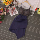 Dress Spring 2021 Black, dark blue, pink M, L Mid length dress singleton  Sleeveless commute V-neck High waist Socket One pace skirt routine camisole 18-24 years old Type A Panel, zipper 81% (inclusive) - 90% (inclusive) other