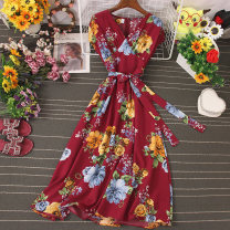 Dress Autumn 2020 Light green, apricot, dark green, black, treasure blue, sky blue, white, red, yellow, jujube Average size Mid length dress singleton  Sleeveless Sweet V-neck High waist Broken flowers Socket Big swing routine camisole 25-29 years old Type A Lace up, stitching, printing other