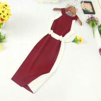 Dress Summer of 2019 Average size Middle-skirt singleton  commute middle-waisted Socket One pace skirt Hanging neck style Korean version 81% (inclusive) - 90% (inclusive) other