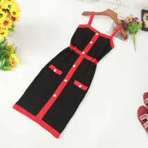Dress Summer of 2019 Navy, pink, khaki, red, black Average size Middle-skirt singleton  commute High waist Socket One pace skirt camisole Type H Korean version Splicing 81% (inclusive) - 90% (inclusive) other