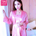 Nightdress Ting Ilan 155S 160M 165L 170XL 175XXL luxurious Long sleeves pajamas Middle-skirt autumn Solid color youth V-neck Polyester (polyester) Embroidery More than 95% Imitation silk YZC-W006-3 200g and below Summer 2017 Polyester 100% Pure e-commerce (online only) Polyester 100%