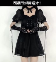 Dress Summer 2021 Black, lace sleeve + neck XS,S,M,L,XL Short skirt singleton  Short sleeve commute square neck High waist Solid color Socket A-line skirt routine 18-24 years old Type A Korean version Splicing 81% (inclusive) - 90% (inclusive) other polyester fiber