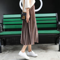 skirt Winter 2020 S M L XL 2XL 3XL 4XL 5XL Mid length dress Versatile Natural waist Pleated skirt Solid color Type A 18-24 years old 91% (inclusive) - 95% (inclusive) Sweet lady polyester fiber Polyester 92.4% polyurethane elastic fiber (spandex) 7.6% Pure e-commerce (online only)