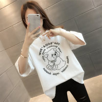 T-shirt Black white yellow S M L XL Summer 2021 Short sleeve Crew neck easy Regular routine commute other 96% and above Korean version classic Cartoon letters vee fly VE15003HT1994975607 printing Other 100%