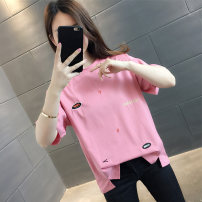 T-shirt Pink blue white yellow S M L XL Summer 2021 Short sleeve Crew neck easy Regular routine commute other 96% and above Korean version classic Geometric pattern vee fly VE00036HTKL2603 Embroidery Other 100% Pure e-commerce (online only)