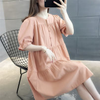 Dress Summer 2021 Orange pink S M L XL Mid length dress singleton  Short sleeve commute Crew neck Solid color Socket routine Others 25-29 years old vee fly Korean version Button VE16133HTHL37175786 More than 95% other Other 100% Pure e-commerce (online only)