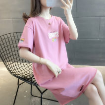 T-shirt Skin red green blue white S M L XL Spring 2021 Short sleeve Crew neck easy Medium length routine commute other 96% and above Korean version youth Cartoon letters vee fly VE01424 Printed hole stickers Other 100% Exclusive payment of tmall
