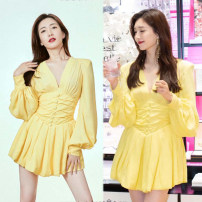 Dress Spring 2021 Bright yellow S,M,L,XL Short skirt singleton  Long sleeves Sweet V-neck High waist Solid color routine Type A Ocnltiy rivet
