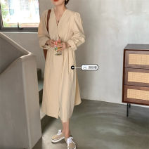 Dress Spring 2021 Apricot, Navy S, M Mid length dress singleton  Long sleeves commute V-neck High waist Solid color Socket A-line skirt routine Others Under 17 Type A Korean version Button 31% (inclusive) - 50% (inclusive)