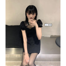 Dress Summer 2021 black S,M,L Short skirt singleton  Long sleeves commute V-neck High waist Solid color Socket A-line skirt routine Others Under 17 Type A Korean version Splicing 51% (inclusive) - 70% (inclusive) other polyester fiber