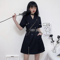 Dress Summer 2021 Black belt, black skirt S. M, l, average size Short skirt singleton  Short sleeve commute tailored collar High waist Solid color double-breasted A-line skirt routine Others 18-24 years old Type A Korean version Button 31% (inclusive) - 50% (inclusive)