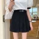 skirt Summer 2021 S,M,L,XL White, black Short skirt commute High waist A-line skirt Solid color Type A 18-24 years old 31% (inclusive) - 50% (inclusive) Korean version