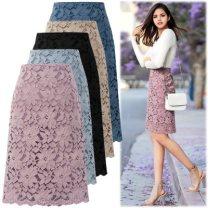 skirt Summer 2020 M,L,XL,2XL,3XL,4XL Black, khaki, blue, pink purple longuette Versatile A-line skirt Solid color Type H 31% (inclusive) - 50% (inclusive) Lace other