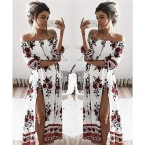 Dress Summer of 2019 Picture color S,M,L,XL longuette three quarter sleeve One word collar Breast wrapping Other / other