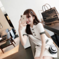 Dress Summer 2020 White dress, black dress S,M,L,XL,2XL Mid length dress singleton  Short sleeve commute Polo collar High waist Solid color Socket A-line skirt routine Others 18-24 years old Type A Korean version Button 71% (inclusive) - 80% (inclusive) knitting acrylic fibres