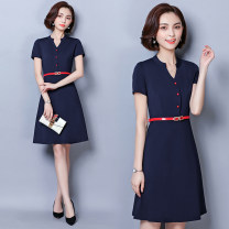 Dress Summer 2021 Navy [short sleeve], black [half sleeve], Navy [half sleeve] S,M,L,XL,2XL,3XL,4XL Mid length dress singleton  Short sleeve commute V-neck High waist Solid color Socket A-line skirt routine Others 25-29 years old Type A Ol style Button, button 81% (inclusive) - 90% (inclusive) nylon
