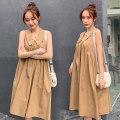Dress Other / other Black, Khaki M,L,XL,XXL Korean version Sleeveless Medium length summer Lapel Solid color Cotton and hemp