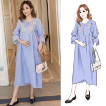 Dress Other / other blue M,L,XL,XXL Korean version three quarter sleeve Medium length spring Crew neck