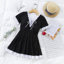 one piece  Independent brand S [recommended 80-90 kg], m [recommended 90-100 kg], l [recommended 100-110 kg], XL [recommended 110-120 kg] Black 8217, pink 8217, yellow 8217 Skirt one piece With chest pad without steel support Polyester, others female Short sleeve Casual swimsuit Other, solid