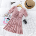 one piece  Independent brand S [recommended 80-90 kg], m [recommended 90-100 kg], l [recommended 100-110 kg], XL [recommended 110-120 kg] Black 8854, pink 8854, blue 8854 Skirt one piece With chest pad without steel support Polyester, others female Short sleeve Casual swimsuit Solid color