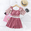 Split swimsuit Independent brand Pink 208917, blue 208917, black 208917 S [recommended 80-90 kg], m [recommended 90-100 kg], l [recommended 100-110 kg], XL [recommended 110-120 kg], 2XL [recommended 120-130 kg] Skirt split swimsuit With chest pad without steel support Polyester, others female