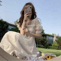 Dress Summer 2021 white S,M,L,XL Mid length dress singleton  Short sleeve Sweet square neck High waist Broken flowers Socket A-line skirt puff sleeve Type A Printed, open back, pleated, ruffle, pleated 71% (inclusive) - 80% (inclusive) Chiffon solar system