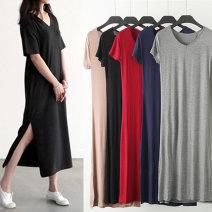Dress Summer of 2018 longuette singleton  Short sleeve commute V-neck Loose waist Solid color Socket A-line skirt routine Others Type A Korean version Split 91% (inclusive) - 95% (inclusive) brocade modal