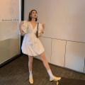 Dress Summer 2020 Black, white S,M,L Short skirt singleton  Short sleeve commute V-neck High waist Solid color zipper Lantern skirt puff sleeve 18-24 years old Type X Korean version Bow, diamond, fold, zipper 71% (inclusive) - 80% (inclusive) cotton