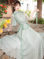 Dress Summer 2020 green S,M,L longuette singleton  Short sleeve commute Doll Collar High waist Solid color zipper Big swing pagoda sleeve Others Type A Retro Lace up, button