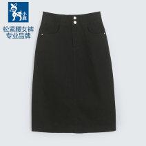 skirt Spring 2021 S (85-105 kg), m (100-115 kg), l-xl (110-135 kg), 2XL (130-145 kg) black Mid length dress commute Natural waist 30-34 years old xz09335H Button Korean version
