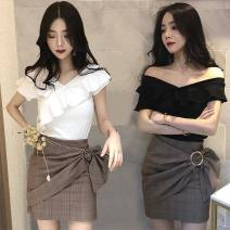T-shirt White, black, khaki, violet, 101 black M,L,XL,XXL Spring 2020 Short sleeve One word collar Self cultivation Super short Lotus leaf sleeve commute polyester fiber 96% and above 18-24 years old Korean version Other / other